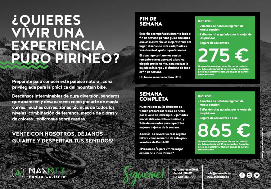 Ejemplos de precios para un finde o una semana en Puro Pirineo.
